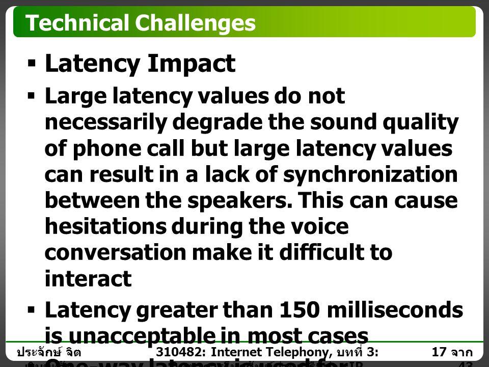 ประจักษ์ จิต เงินมะดัน 16 จาก 43 310482: Internet Telephony, บทที่ 3: วิทยาการโทรศัพท์ผ่านเครือข่าย IP Technical Challenges  Delay or Latency Definit