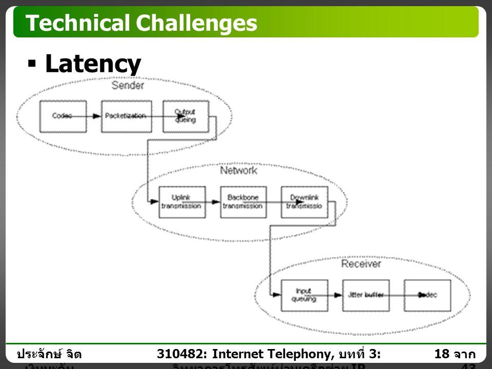 ประจักษ์ จิต เงินมะดัน 17 จาก 43 310482: Internet Telephony, บทที่ 3: วิทยาการโทรศัพท์ผ่านเครือข่าย IP Technical Challenges  Latency Impact  Large l