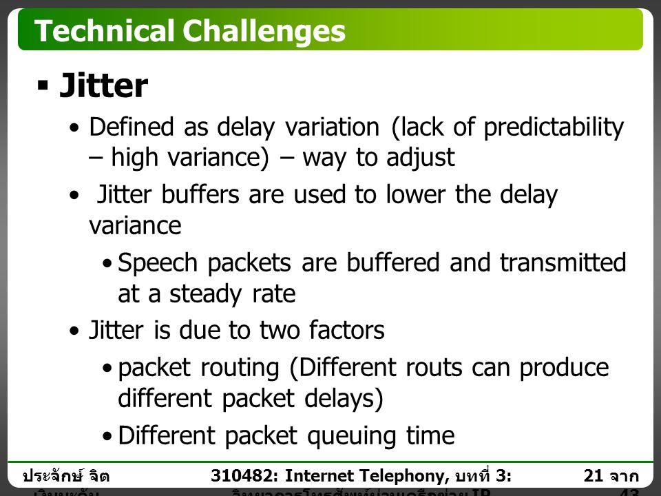 ประจักษ์ จิต เงินมะดัน 20 จาก 43 310482: Internet Telephony, บทที่ 3: วิทยาการโทรศัพท์ผ่านเครือข่าย IP Technical Challenges  Latency Types  Variable