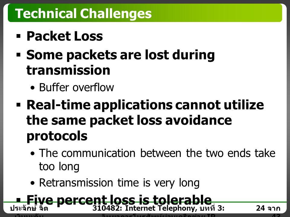 ประจักษ์ จิต เงินมะดัน 23 จาก 43 310482: Internet Telephony, บทที่ 3: วิทยาการโทรศัพท์ผ่านเครือข่าย IP Technical Challenges  Jitter