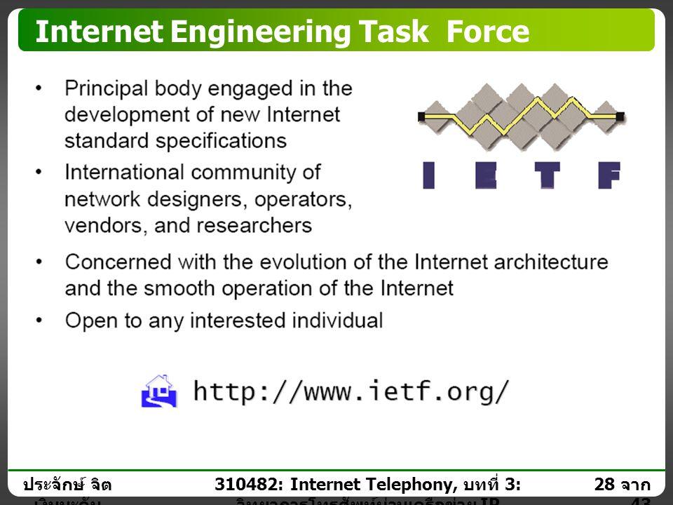ประจักษ์ จิต เงินมะดัน 27 จาก 43 310482: Internet Telephony, บทที่ 3: วิทยาการโทรศัพท์ผ่านเครือข่าย IP VoIP Standards