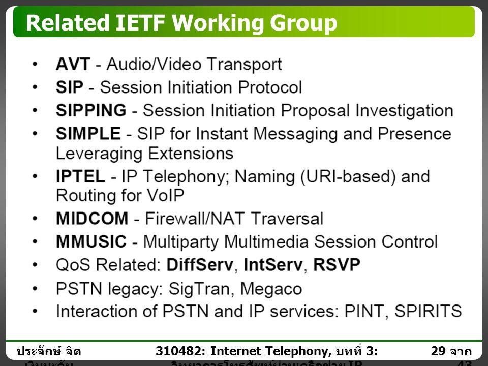 ประจักษ์ จิต เงินมะดัน 28 จาก 43 310482: Internet Telephony, บทที่ 3: วิทยาการโทรศัพท์ผ่านเครือข่าย IP Internet Engineering Task Force