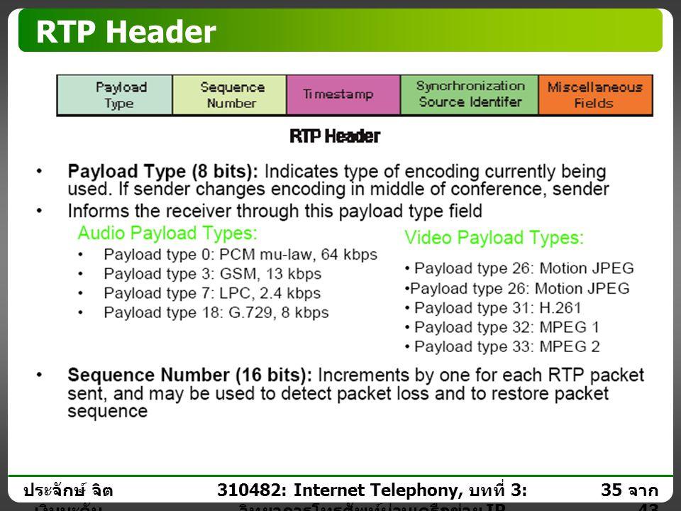 ประจักษ์ จิต เงินมะดัน 34 จาก 43 310482: Internet Telephony, บทที่ 3: วิทยาการโทรศัพท์ผ่านเครือข่าย IP Real Time Transport Protocol (RTP)