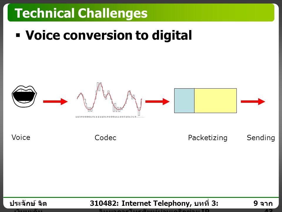 ประจักษ์ จิต เงินมะดัน 8 จาก 43 310482: Internet Telephony, บทที่ 3: วิทยาการโทรศัพท์ผ่านเครือข่าย IP Technical Challenges