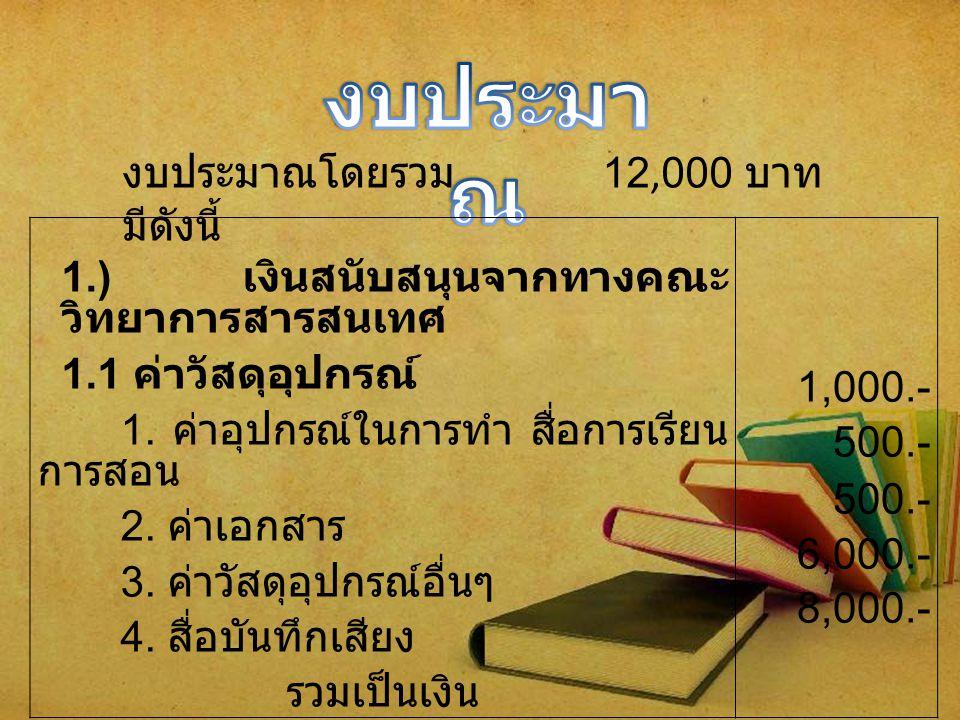 2.) เงินสนับสนุนจากการขอรับ บริจาค 2.1 ค่าพาหนะ 1.
