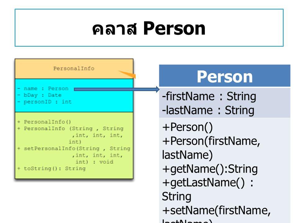คลาส Date Date -dDay : int -dMonth : int -dYear : int +Date() +Date(dDay, dMonth,dYear) +getDay(): int +getMonth(): int +getYear() : int +setDate(dDay, dMonth, dYear) +print()