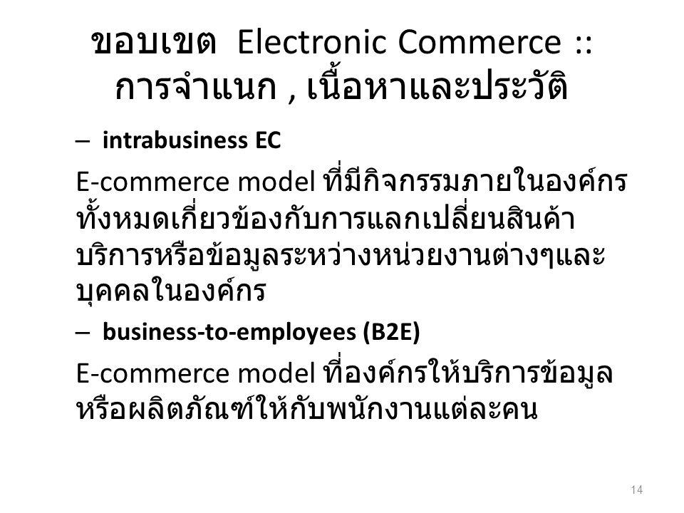 ขอบเขต Electronic Commerce :: การจำแนก, เนื้อหาและประวัติ – intrabusiness EC E-commerce model ที่มีกิจกรรมภายในองค์กร ทั้งหมดเกี่ยวข้องกับการแลกเปลี่ยนสินค้า บริการหรือข้อมูลระหว่างหน่วยงานต่างๆและ บุคคลในองค์กร – business-to-employees (B2E) E-commerce model ที่องค์กรให้บริการข้อมูล หรือผลิตภัณฑ์ให้กับพนักงานแต่ละคน 14