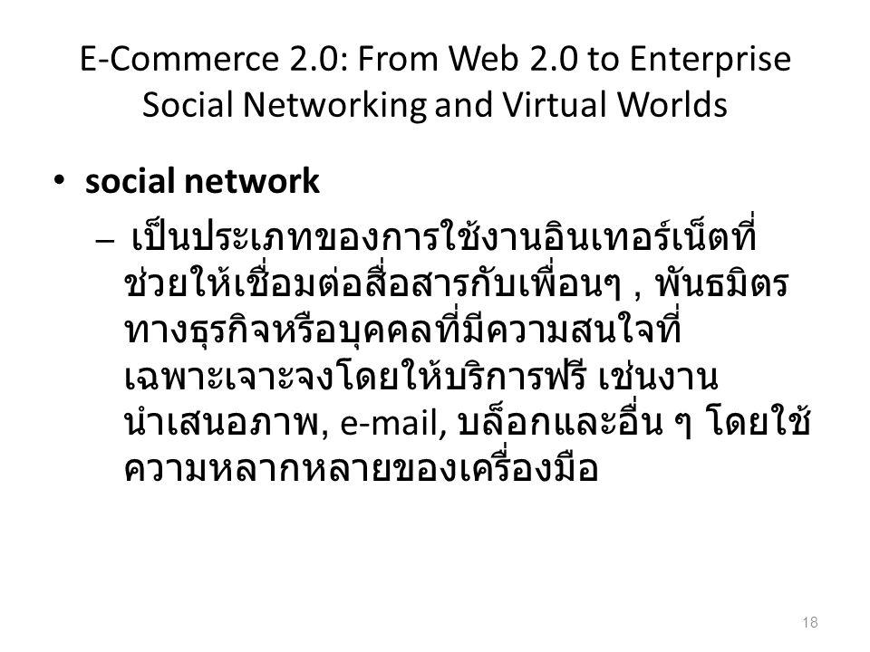 E-Commerce 2.0: From Web 2.0 to Enterprise Social Networking and Virtual Worlds social network – เป็นประเภทของการใช้งานอินเทอร์เน็ตที่ ช่วยให้เชื่อมต่อสื่อสารกับเพื่อนๆ, พันธมิตร ทางธุรกิจหรือบุคคลที่มีความสนใจที่ เฉพาะเจาะจงโดยให้บริการฟรี เช่นงาน นำเสนอภาพ, e-mail, บล็อกและอื่น ๆ โดยใช้ ความหลากหลายของเครื่องมือ 18