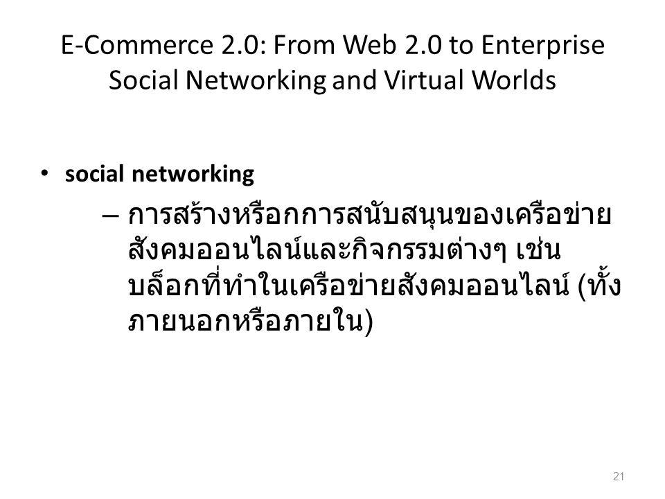 E-Commerce 2.0: From Web 2.0 to Enterprise Social Networking and Virtual Worlds social networking – การสร้างหรือกการสนับสนุนของเครือข่าย สังคมออนไลน์และกิจกรรมต่างๆ เช่น บล็อกที่ทำในเครือข่ายสังคมออนไลน์ ( ทั้ง ภายนอกหรือภายใน ) 21