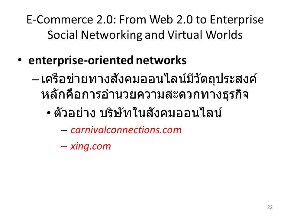 E-Commerce 2.0: From Web 2.0 to Enterprise Social Networking and Virtual Worlds enterprise-oriented networks – เครือข่ายทางสังคมออนไลน์มีวัตถุประสงค์ หลักคือการอำนวยความสะดวกทางธุรกิจ ตัวอย่าง บริษัทในสังคมออนไลน์ – carnivalconnections.com – xing.com 22