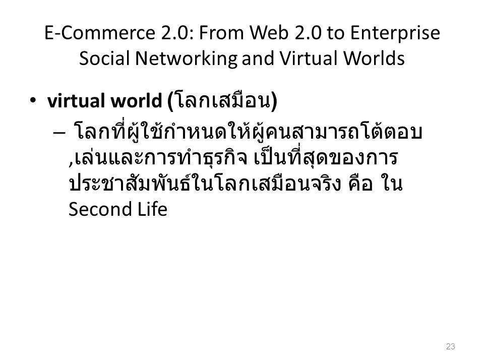 E-Commerce 2.0: From Web 2.0 to Enterprise Social Networking and Virtual Worlds virtual world ( โลกเสมือน ) – โลกที่ผู้ใช้กำหนดให้ผู้คนสามารถโต้ตอบ, เล่นและการทำธุรกิจ เป็นที่สุดของการ ประชาสัมพันธ์ในโลกเสมือนจริง คือ ใน Second Life 23