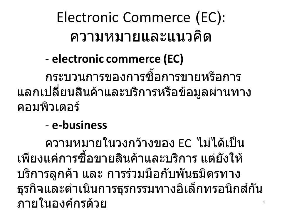 Electronic Commerce (EC): ความหมายและแนวคิด - electronic commerce (EC) กระบวนการของการซื้อการขายหรือการ แลกเปลี่ยนสินค้าและบริการหรือข้อมูลผ่านทาง คอมพิวเตอร์ - e-business ความหมายในวงกว้างของ EC ไม่ได้เป็น เพียงแค่การซื้อขายสินค้าและบริการ แต่ยังให้ บริการลูกค้า และ การร่วมมือกับพันธมิตรทาง ธุรกิจและดำเนินการธุรกรรมทางอิเล็กทรอนิกส์กัน ภายในองค์กรด้วย 4
