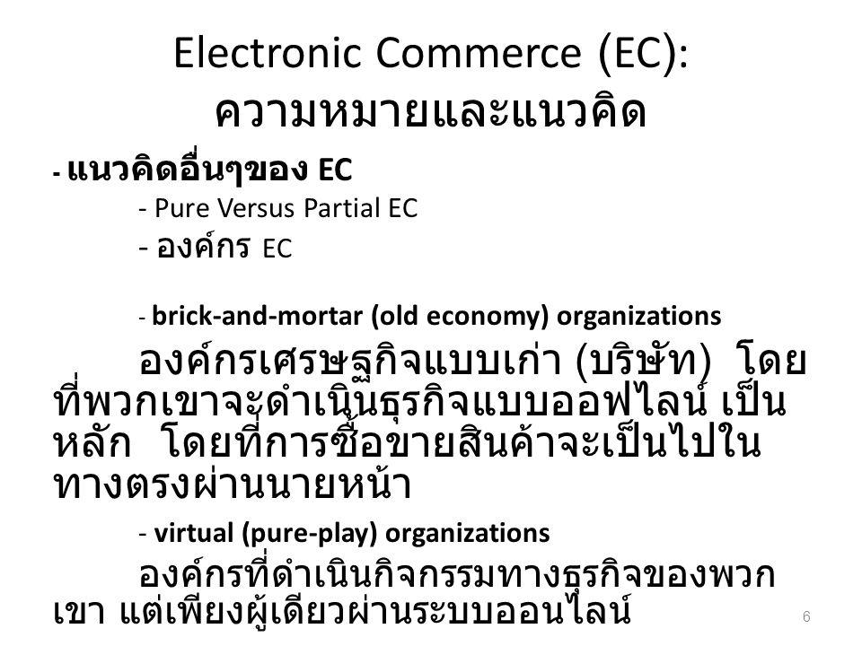 - แนวคิดอื่นๆของ EC - Pure Versus Partial EC - องค์กร EC - brick-and-mortar (old economy) organizations องค์กรเศรษฐกิจแบบเก่า ( บริษัท ) โดย ที่พวกเขาจะดำเนินธุรกิจแบบออฟไลน์ เป็น หลัก โดยที่การซื้อขายสินค้าจะเป็นไปใน ทางตรงผ่านนายหน้า - virtual (pure-play) organizations องค์กรที่ดำเนินกิจกรรมทางธุรกิจของพวก เขา แต่เพียงผู้เดียวผ่านระบบออนไลน์ 6
