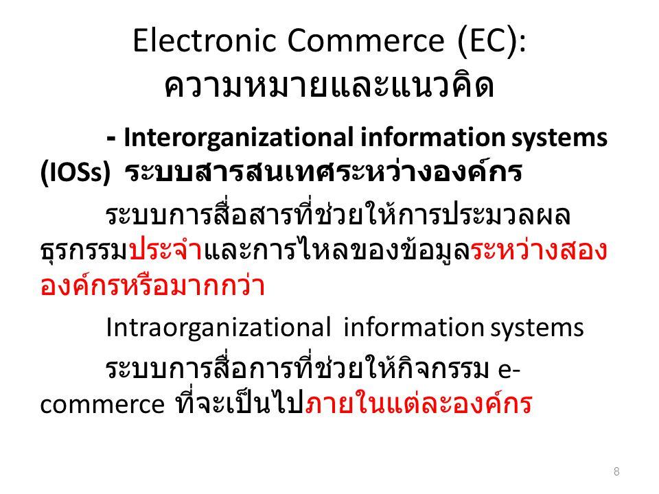 Electronic Commerce (EC): ความหมายและแนวคิด - Interorganizational information systems (IOSs) ระบบสารสนเทศระหว่างองค์กร ระบบการสื่อสารที่ช่วยให้การประมวลผล ธุรกรรมประจำและการไหลของข้อมูลระหว่างสอง องค์กรหรือมากกว่า Intraorganizational information systems ระบบการสื่อการที่ช่วยให้กิจกรรม e- commerce ที่จะเป็นไปภายในแต่ละองค์กร 8