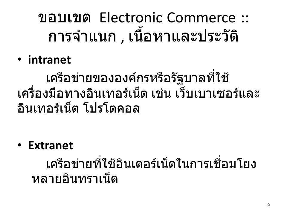 ขอบเขต Electronic Commerce :: การจำแนก, เนื้อหาและประวัติ intranet เครือข่ายขององค์กรหรือรัฐบาลที่ใช้ เครื่องมือทางอินเทอร์เน็ต เช่น เว็บเบาเซอร์และ อินเทอร์เน็ต โปรโตคอล Extranet เครือข่ายที่ใช้อินเตอร์เน็ตในการเชื่อมโยง หลายอินทราเน็ต 9