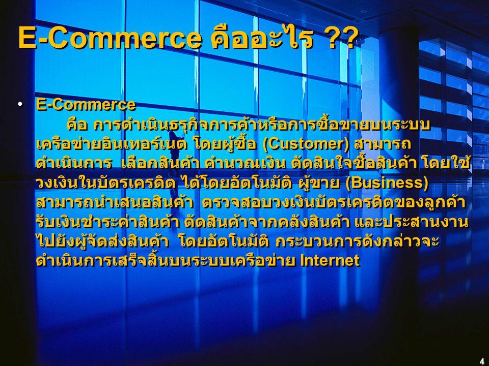 4 E-Commerce คืออะไร ?? E-Commerce คือ การดำเนินธรุกิจการค้าหรือการซื้อขายบนระบบ เครือข่ายอินเทอร์เนต โดยผู้ซื้อ (Customer) สามารถ ดำเนินการ เลือกสินค
