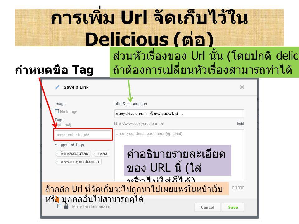 การเพิ่ม Url จัดเก็บไว้ใน Delicious ( ต่อ ) ส่วนหัวเรื่องของ Url นั้น ( โดยปกติ delicious จะเรียกข้อมูลส่วนนี้มาให้ ) ถ้าต้องการเปลี่ยนหัวเรื่องสามารถ