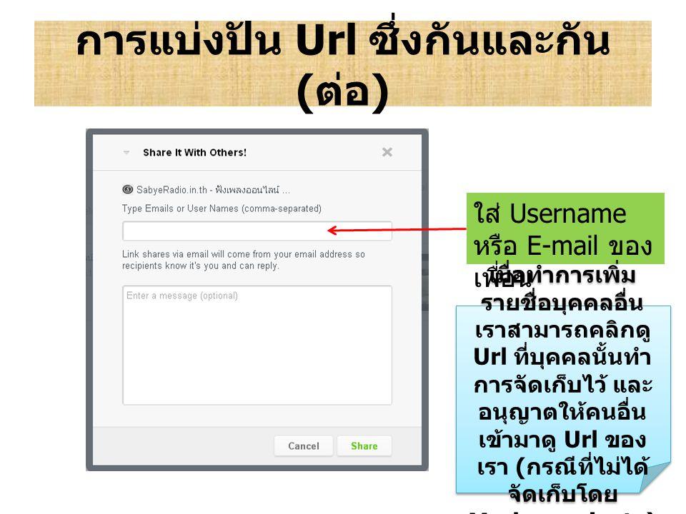 การแบ่งปัน Url ซึ่งกันและกัน ( ต่อ ) ใส่ Username หรือ E-mail ของ เพื่อน เมื่อทำการเพิ่ม รายชื่อบุคคลอื่น เราสามารถคลิกดู Url ที่บุคคลนั้นทำ การจัดเก็