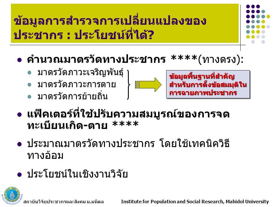 สถาบันวิจัยประชากรและสังคม ม.มหิดล Institute for Population and Social Research, Mahidol University ข้อมูลการสำรวจการเปลี่ยนแปลงของ ประชากร : ประโยชน์ที่ได้.