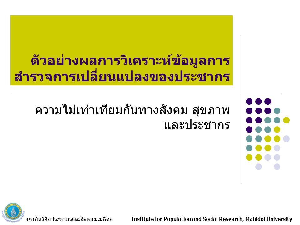 สถาบันวิจัยประชากรและสังคม ม.มหิดล Institute for Population and Social Research, Mahidol University ตัวอย่างผลการวิเคราะห์ข้อมูลการ สำรวจการเปลี่ยนแปลงของประชากร ความไม่เท่าเทียมกันทางสังคม สุขภาพ และประชากร