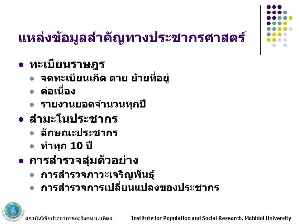 สถาบันวิจัยประชากรและสังคม ม.มหิดล Institute for Population and Social Research, Mahidol University สำนักงานสถิติแห่งชาติ : แหล่งข้อมูลประชากรที่สำคัญ สำมะโนประชากร การสำรวจการเปลี่ยนแปลงของประชากร
