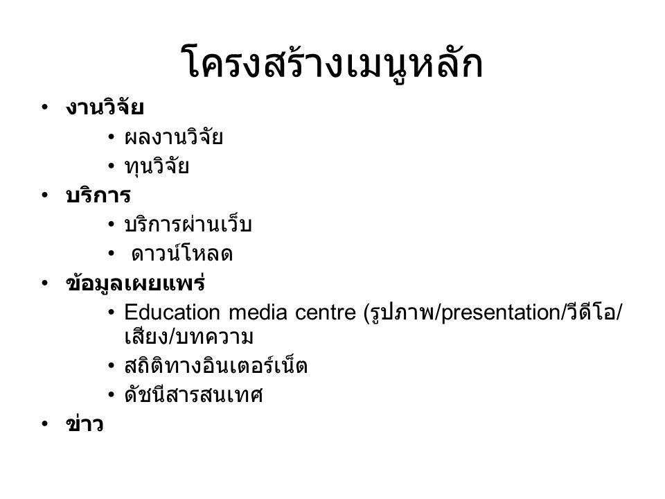 โครงสร้างเมนูหลัก งานวิจัย ผลงานวิจัย ทุนวิจัย บริการ บริการผ่านเว็บ ดาวน์โหลด ข้อมูลเผยแพร่ Education media centre ( รูปภาพ /presentation/ วีดีโอ / เ