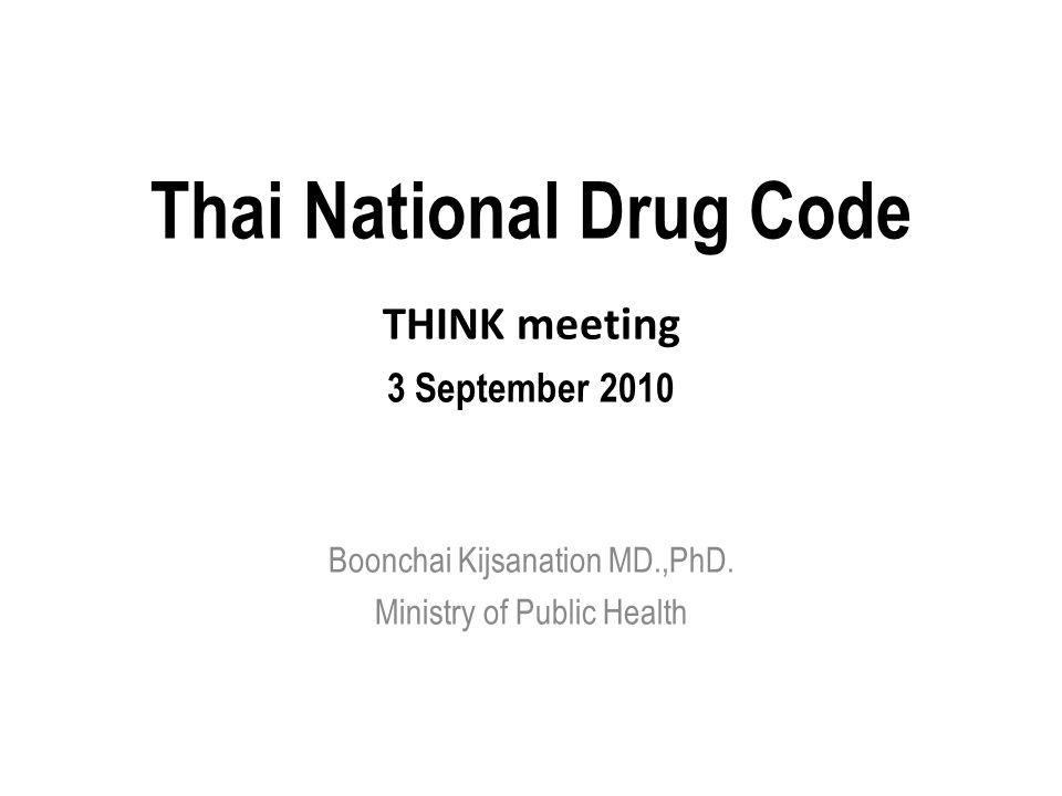 Thai National Drug Code THINK meeting 3 September 2010 Boonchai Kijsanation MD.,PhD. Ministry of Public Health
