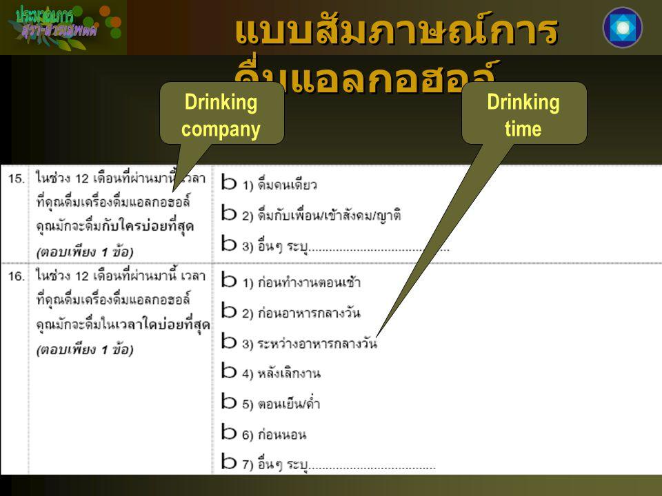 แบบสัมภาษณ์การ ดื่มแอลกอฮอล์ Drinking company Drinking time