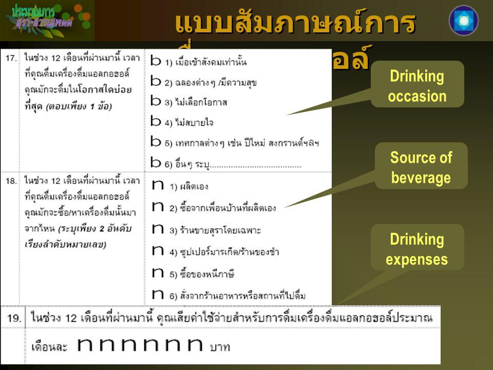 แบบสัมภาษณ์การ ดื่มแอลกอฮอล์ Drinking occasion Source of beverage Drinking expenses