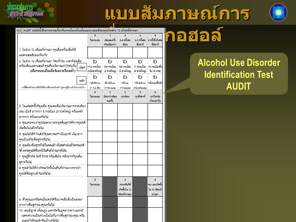 แบบสัมภาษณ์การ ดื่มแอลกอฮอล์ Alcohol Use Disorder Identification Test AUDIT