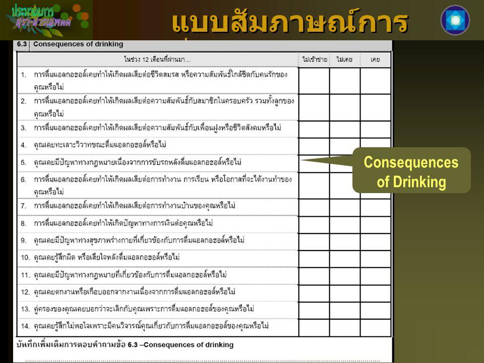 แบบสัมภาษณ์การ ดื่มแอลกอฮอล์ Consequences of Drinking