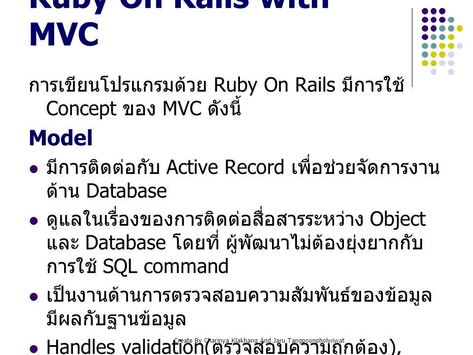 Create By Charinya Klakhang And Jaru Tangpoonpholwiwat Ruby On Rails with MVC การเขียนโปรแกรมด้วย Ruby On Rails มีการใช้ Concept ของ MVC ดังนี้ Model