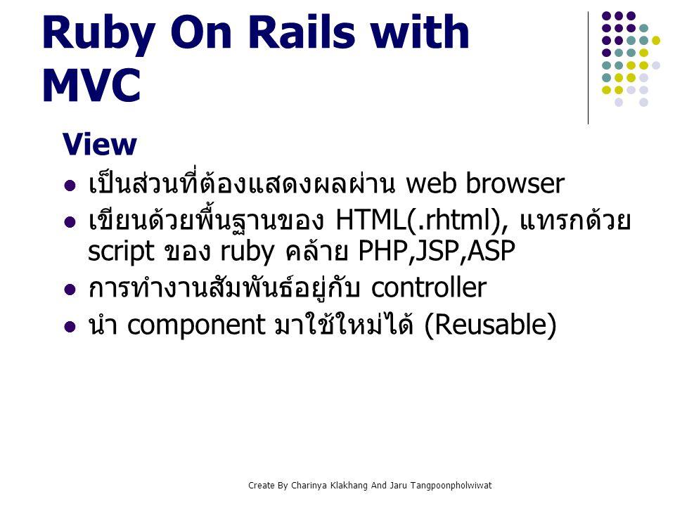 Create By Charinya Klakhang And Jaru Tangpoonpholwiwat View เป็นส่วนที่ต้องแสดงผลผ่าน web browser เขียนด้วยพื้นฐานของ HTML(.rhtml), แทรกด้วย script ขอ