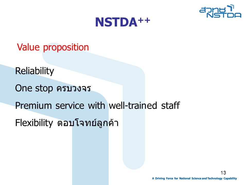 13 Value proposition Reliability One stop ครบวงจร Premium service with well-trained staff Flexibility ตอบโจทย์ลูกค้า NSTDA ++