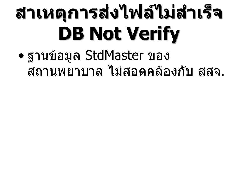 สาเหตุการส่งไฟล์ไม่สำเร็จ DB Not Verify ฐานข้อมูล StdMaster ของ สถานพยาบาล ไม่สอดคล้องกับ สสจ.