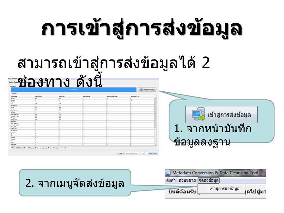 การเข้าสู่การส่งข้อมูล 1.จากหน้าบันทึก ข้อมูลลงฐาน 2.