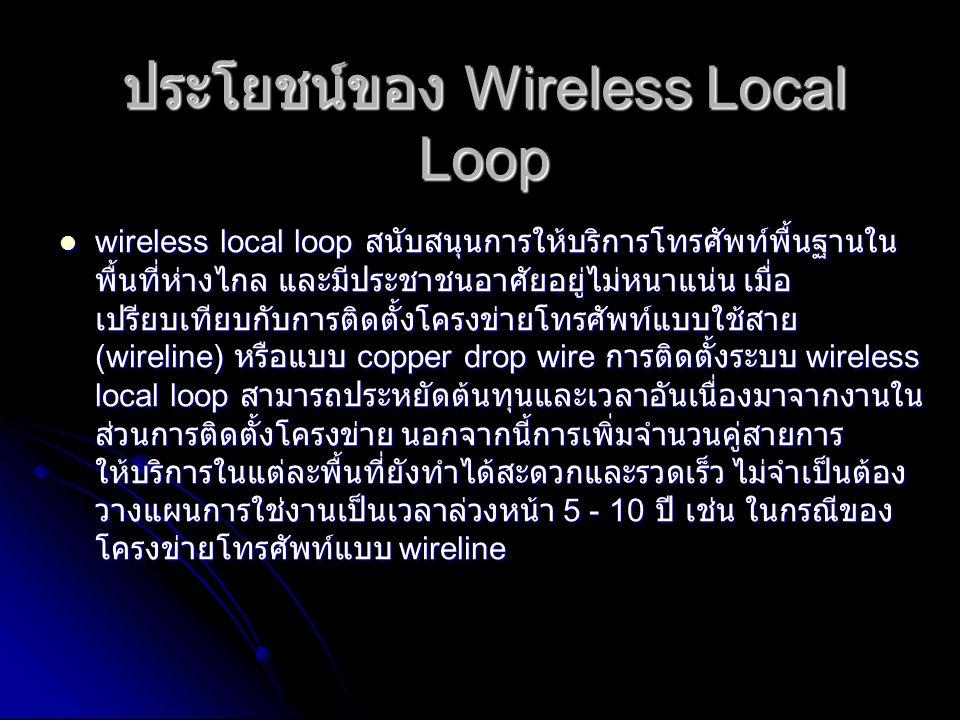 ทางเลือกต่างๆ ของเทคโนโลยี ระบบ WLL ที่ทำการส่งสัญญาณทาง ไมโครเวฟ ระบบ WLL ที่ทำการส่งสัญญาณทาง ไมโครเวฟ ระบบ WLL ที่ใช้รูปแบบของระบบเซลลูล่าร์ ระบบ WLL ที่ใช้รูปแบบของระบบเซลลูล่าร์ ระบบ WLL ที่ใช้รูปแบบของระบบ PCS (Personal Communications ระบบ WLL ที่ใช้รูปแบบของระบบ PCS (Personal Communications Services) หรือ PHS (Personal Handyphone System) Services) หรือ PHS (Personal Handyphone System) ระบบ WLL ที่ใช้รูปแบบของระบบ DECT (Digital Enhanced ระบบ WLL ที่ใช้รูปแบบของระบบ DECT (Digital Enhanced Cordless Telecommunication) Cordless Telecommunication)