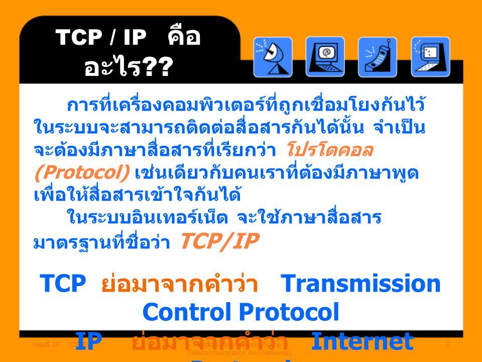 กลุ่มที่ 20 TCP/IP การสื่อสารทางไกลและเครือข่าย (Telecommunication And Networks) 2 TCP / IP คือ อะไร ?.