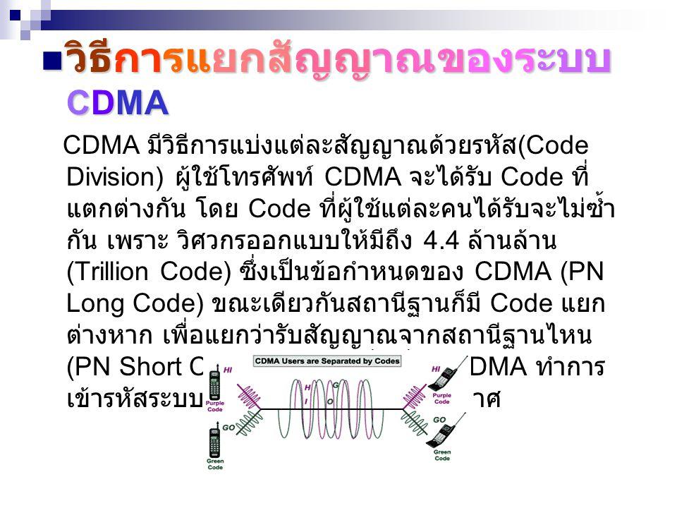 วิธีการแยกสัญญาณของระบบ CDMA วิธีการแยกสัญญาณของระบบ CDMA CDMA มีวิธีการแบ่งแต่ละสัญญาณด้วยรหัส (Code Division) ผู้ใช้โทรศัพท์ CDMA จะได้รับ Code ที่ แตกต่างกัน โดย Code ที่ผู้ใช้แต่ละคนได้รับจะไม่ซ้ำ กัน เพราะ วิศวกรออกแบบให้มีถึง 4.4 ล้านล้าน (Trillion Code) ซึ่งเป็นข้อกำหนดของ CDMA (PN Long Code) ขณะเดียวกันสถานีฐานก็มี Code แยก ต่างหาก เพื่อแยกว่ารับสัญญาณจากสถานีฐานไหน (PN Short Code) หลังจากที่เครื่อง CDMA ทำการ เข้ารหัสระบบจึงจะส่งสัญญาณออกอากาศ