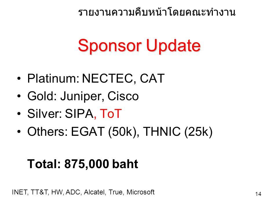 14 Sponsor Update Platinum: NECTEC, CAT Gold: Juniper, Cisco Silver: SIPA, ToT Others: EGAT (50k), THNIC (25k) Total: 875,000 baht รายงานความคืบหนาโด