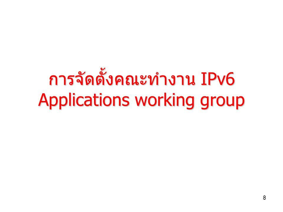 9 รายชื่อคณะกรรมการ IPv6 Working Group (Core Technology) Chair: คุณอุดม ลิ้มมีโชคชัย Cisco Vice Chair: ดร.นิษฐิดา เอลซ์ PSU Advisor: Mr.