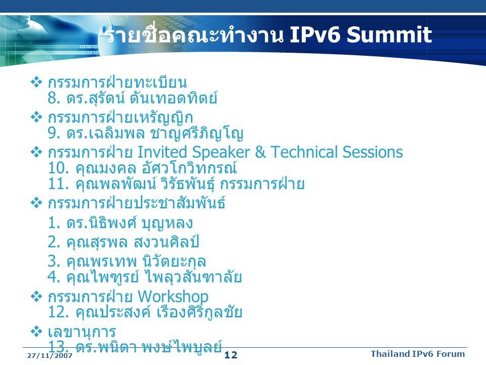 รายชื่อคณะทำงาน IPv6 Summit  กรรมการฝ่ายทะเบียน 8. ดร.สุรัตน์ ตันเทอดทิตย์  กรรมการฝ่ายเหรัญญิก 9. ดร.เฉลิมพล ชาญศรีภิญโญ  กรรมการฝ่าย Invited Spea