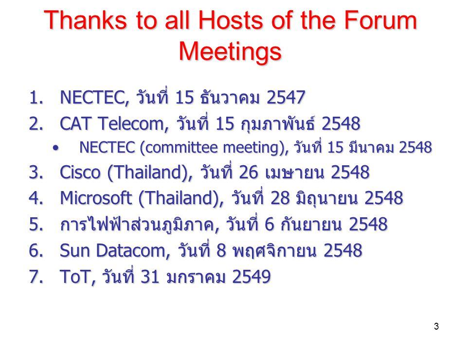 3 Thanks to all Hosts of the Forum Meetings 1.NECTEC, วันที่ 15 ธันวาคม 2547 2.CAT Telecom, วันที่ 15 กุมภาพันธ์ 2548 NECTEC (committee meeting), วันที่ 15 มีนาคม 2548NECTEC (committee meeting), วันที่ 15 มีนาคม 2548 3.Cisco (Thailand), วันที่ 26 เมษายน 2548 4.Microsoft (Thailand), วันที่ 28 มิถุนายน 2548 5.การไฟฟ้าส่วนภูมิภาค, วันที่ 6 กันยายน 2548 6.Sun Datacom, วันที่ 8 พฤศจิกายน 2548 7.ToT, วันที่ 31 มกราคม 2549