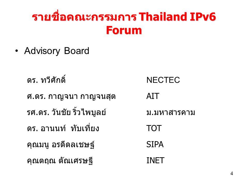 4 รายชื่อคณะกรรมการ Thailand IPv6 Forum Advisory Board ดร. ทวีศักดิ์ NECTEC ศ.ดร. กาญจนา กาญจนสุตAIT รศ.ดร. วันชัย ริ้วไพบูลย์ม.มหาสารคาม ดร. อานนท์ ท