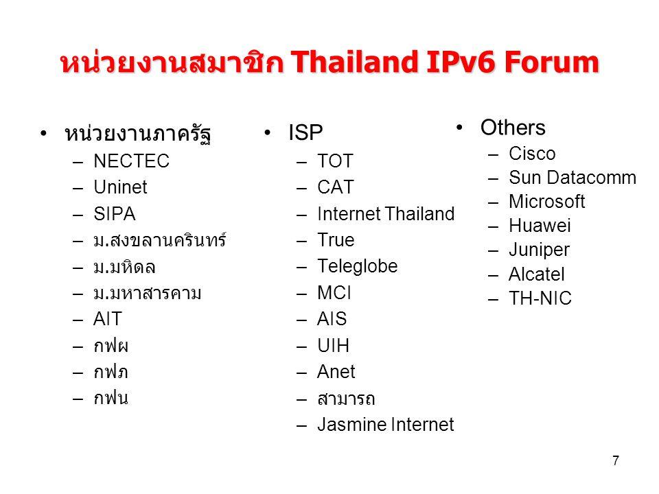 7 หน่วยงานสมาชิก Thailand IPv6 Forum หน่วยงานภาครัฐ –NECTEC –Uninet –SIPA – ม. สงขลานครินทร์ – ม. มหิดล – ม. มหาสารคาม –AIT – กฟผ – กฟภ – กฟน ISP –TOT
