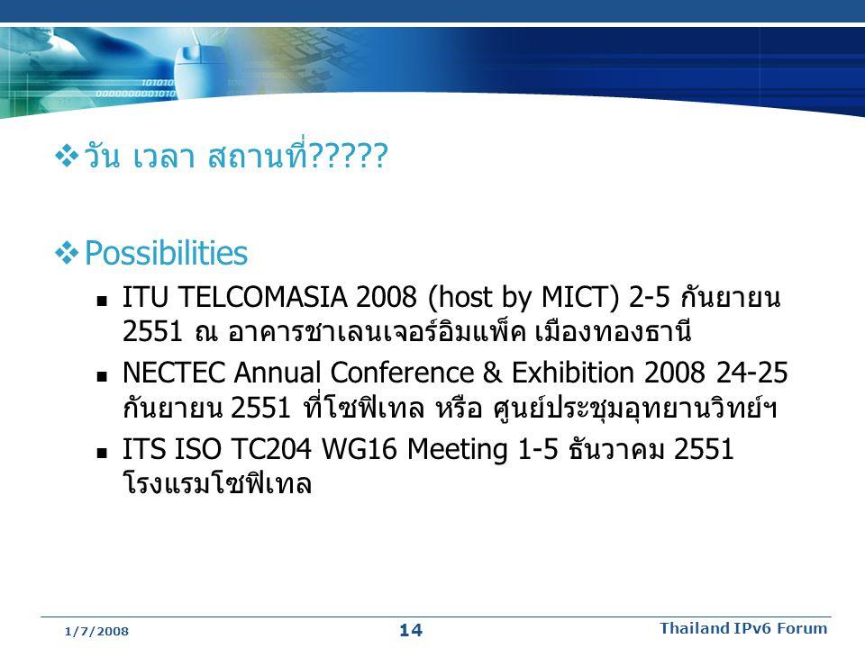  วัน เวลา สถานที่?????  Possibilities ITU TELCOMASIA 2008 (host by MICT) 2-5 กันยายน 2551 ณ อาคารชาเลนเจอร์อิมแพ็ค เมืองทองธานี NECTEC Annual Confer