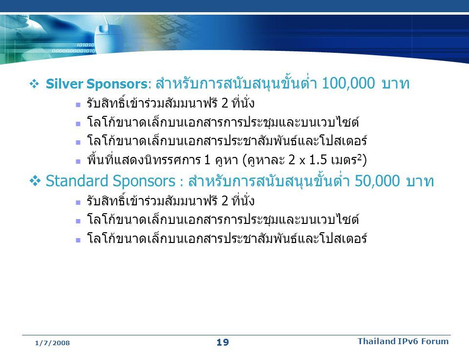  Silver Sponsors: สำหรับการสนับสนุนขั้นต่ำ 100, 000 บาท รับสิทธิ์เข้าร่วมสัมมนาฟรี 2 ที่นั่ง โลโก้ขนาดเล็กบนเอกสารการประชุมและบนเวบไซต์ โลโก้ขนาดเล็ก