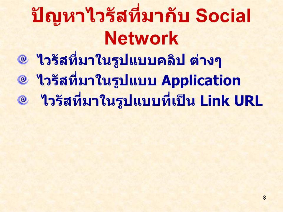 8 ปัญหาไวรัสที่มากับ Social Network ไวรัสที่มาในรูปแบบคลิป ต่างๆ ไวรัสที่มาในรูปแบบ Application ไวรัสที่มาในรูปแบบที่เป็น Link URL