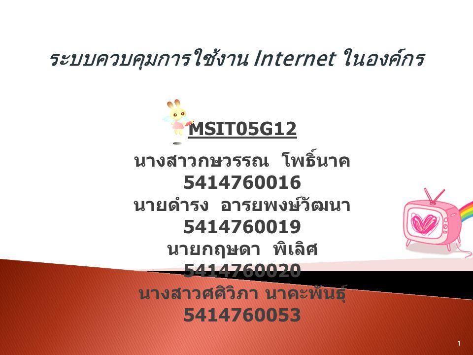ระบบควบคุมการใช้งาน Internet ในองค์กร MSIT05G12 นางสาวกษวรรณ โพธิ์นาค 5414760016 นายดำรง อารยพงษ์วัฒนา 5414760019 นายกฤษดา พิเลิศ 5414760020 นางสาวศศิ