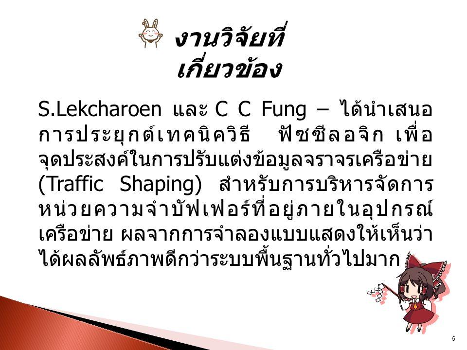 งานวิจัยที่ เกี่ยวข้อง S.Lekcharoen และ C C Fung – ได้นำเสนอ การประยุกต์เทคนิควิธี ฟัซซีลอจิก เพื่อ จุดประสงค์ในการปรับแต่งข้อมูลจราจรเครือข่าย (Traff